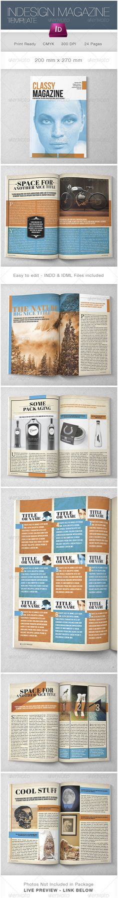 Indesign Classy Magazine  #GraphicRiver        LIVE PREVIEW: issuu /luuqas/docs/classy?mode=window&backgroundColor=%23222222  This is a professional and clean InDesign magazine template. It contains 24 pages. Easy to edit in InDesign and customize it according to your needs. Also suitable for your corporate / customer magazine or any other type of magazine. Add as many pages as you like.   Photos used in the previews are not included!   Fonts used:  Abril Fatface  .myfonts…