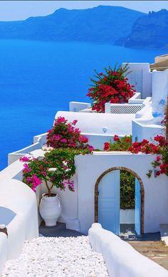 Santorini island, #Greece #honeymoon #ideas: summer, vacations, Greek island, summer blue, summer white, voukamvilia, red, pink