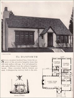 Danforth House Plan - Vintage American Architecture - 1929 Home Builders Catalog - Eclectic Stucco Cottage Style