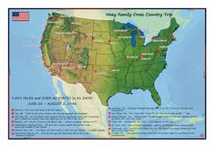 A family's classic American RV Road Trip, as shown in a Passport Map. Perfect for showcasing this once in a lifetime adventure. Travel Tours, Travel Maps, Cross Country Trip, Anniversary Present, Custom Map, Once In A Lifetime, Travel Memories, Tour Guide, Passport