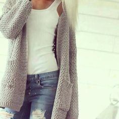 Simple white tank , ripped skinny jeans , grey cardigan