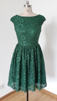 2015 Cap Sleeves Dark Green Lace Short Bridesmaid by DressCulture