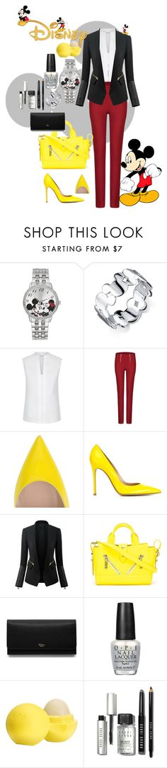 """""""Mickey Mouse"""" by musie-della ❤ liked on Polyvore featuring Disney, Belk Silverworks, Hobbs, Gianvito Rossi, WithChic, Kenzo, Mulberry, OPI, Eos and Bobbi Brown Cosmetics"""