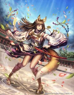 ANIME ART kitsune     fox girl     fox ears     fox tail    Fox Girl Warrior