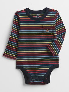 Baby Mix and Match Stripe Bodysuit   Gap Factory Striped Bodysuit, Gap Kids, Mix N Match, Crew Neck, Dressing, Stripes, Knitting, Long Sleeve, Sleeves
