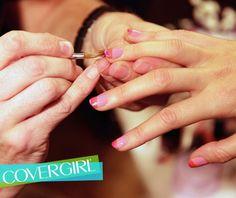 COVERGIRLs NERVO love nail art created using NEW Outlast Stay Brilliant Nail Gloss.