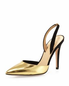 levana metallic pointy slingback pump, gold/black by kate spade new york at Neiman Marcus. Gold Pumps, Pumps Heels, High Heels, Stilettos, Cinderella Slipper, Sparkly Heels, Metallic Shoes, Only Shoes, Hot Shoes