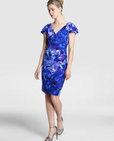 Vestido de mujer Lauren Ralph Lauren con escote de pico y estampado azul