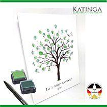 Leinwand zur KOMMUNION -Motiv Baum- als Gästebuch für Fingerabdrücke (30x40cm, inkl. Stift + Stempelkissen)