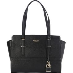 Guess Devyn Satchel (€64) ❤ liked on Polyvore featuring bags, handbags, black, guess handbags, guess satchel, satchel style purse, satchel handbags and gold handbags
