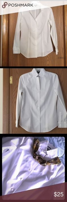 Talbots's Top Beautiful white shirt. Wear collar many ways. Great for work or wear with jeans. Size 4p. EUC Talbots Tops