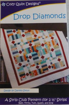 "Pattern,Quilt ,Throw,Drop Diamonds, Patriotic for 2 1/2"" Strips , Jelly Roll, Strip Tube Ruler, Fast Shipping, pt429"