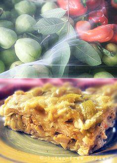 Family favorite: Santa Fe style easy layered enchilada casserole #glutenfree