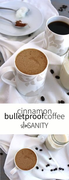 Frothy cinnamon bulletproof coffee made with coconut oil that tastes just like a latte!   slimsanity.com