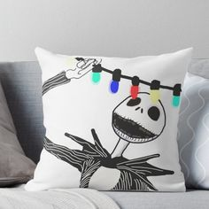 Super soft and durable spun polyester Throw pillow with double-sided print. Cover and filled options. Jack Skellington visits Christmas town design from Tim Burton's The Nightmare Before Christmas