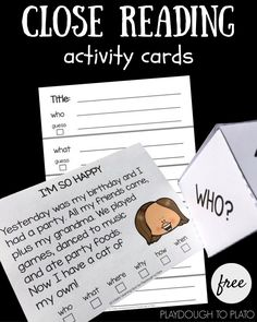 Practice close reading with these free activity cards. Talk about the text or write on the recording sheet - perfect for first grade or second grade reading!