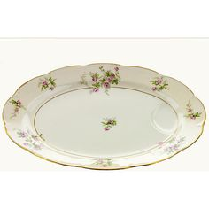 Theodore Haviland Platter Limoges Porcelain Platter Pink Roses with... ($35) ❤ liked on Polyvore featuring home, kitchen & dining and haviland