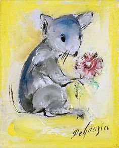 """DeGrazia's """"Mouse with Flower"""", oil on canvas."""