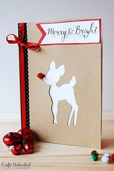 Merry and Bright Rudolph Christmas Card: This reindeer silhouette is so darling, you may find yourself wanting to display this card in your own home.