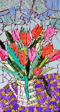 I wish I knew the artist.  Fantastic.  Jug of tulips