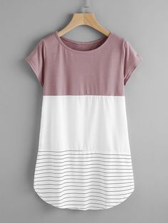 To find out about the Contrast Panel Lace Applique Striped Tee at SHEIN, part of our latest T-Shirts ready to shop online today! Trendy Outfits, Cute Outfits, Fashion Outfits, Mode Top, Fashion Templates, Diy Clothing, Sewing Patterns Free, Lace Applique, Striped Tee