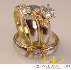 Diamond Trio Yellow Gold Over Matching His Her Engagement Ring Wedding Band Set #2jewelauction