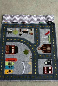 Now if only I was talented and could make these! Perfect thing to take to a restaurant! Road themed page for quiet book Sewing Toys, Baby Sewing, Sewing Crafts, Sewing For Kids, Diy For Kids, Crafts For Kids, Sewing Ideas, Sewing Projects For Kids, Baby Crafts