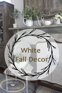 Neutral Fall decor with loads of white pumpkins, greenery and a simple project from Cedar Hill Farmhouse.