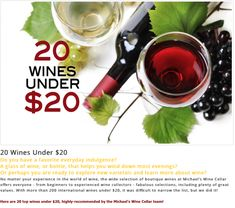 20 Wines Under $20 Do you have a favorite everyday indulgence?  A glass of wine, or bottle, that helps you wind down most evenings?   Or perhaps you are ready to explore new varietals and learn more about wine?