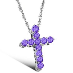 Rhodium White Gold Plated Cross Pendant Necklace with Austrian Crystal Cubic Zirconia Pave Cross Pendant in Purple Color