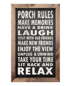 Another great find on #zulily! 'Porch Rules' Framed Sign #zulilyfinds