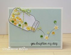 Sweet and sparkly! Lawn Fawn - Summertime Charm stamps and dies, Flying by, Daphne's Closet paper, Lime Lawn Trimmings _ Charlene's Studio Ink: You Brighten My Love Cards, Diy Cards, Navidad Simple, Mason Jar Cards, Mason Jars, Friendship Cards, Shaker Cards, Get Well Cards, Creative Cards