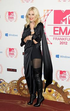 Gwen Stefani - 2012 MTV EMAs wearing a draped black satin look inspired by the Fall 2012 Couture collection by Jean Paul Gaultier