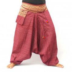 Pantalones de harén mezcla de algodón - rojo