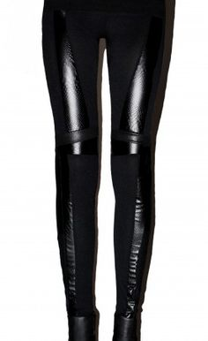BLACK SNAKE panel leggings #brzozowska #brzozowskafashion #minimalism #leather #snake