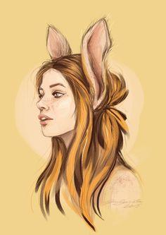 beauty with bunny ears