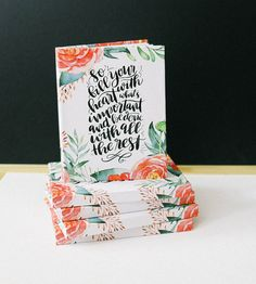 Fill Your Heart Floral Journal by Jenny Highsmith Lettering on Scoutmob