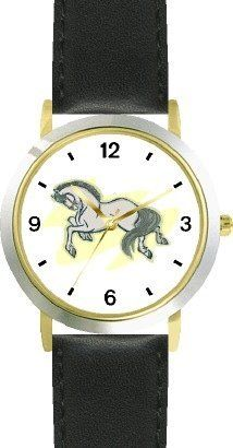 White or Grey Mustang or Stallion Horse - WATCHBUDDY® DELUXE TWO-TONE THEME WATCH - Arabic Numbers - Black Leather Strap-Children's Size-Small ( Boy's Size & Girl's Size ) WatchBuddy. $49.95