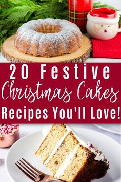 Easy Gluten Free Desserts, Easy Cake Recipes, Easy Dinner Recipes, Holiday Recipes, Christmas Recipes, Cheesecake Oreo, Peppermint Cheesecake, Best Christmas Cake Recipe, Christmas Cakes