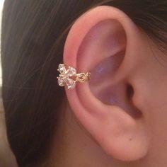Ear Cuff Rose Gold Wire Flower Rhinestone Wraped Earring- Punk - Boho - Bohemain ear cuff by Shinningshop on Etsy