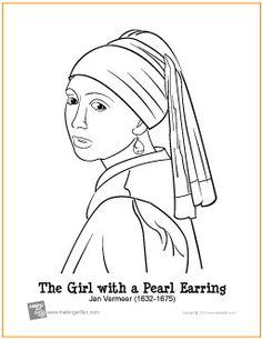 Masterpiece Coloring Page--Girl with a Pearl Earring by Jan Vermeer Free Coloring Page Art Masterpiece Coloring Pages Free Printable Coloring Pages, Free Coloring Pages, Coloring Books, Coloring Sheets, Girl With Pearl Earring, Coloring Pages For Girls, Art Plastique, Elementary Art, Famous Artists