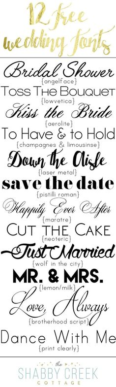Twelve free wedding fonts, perfect for any affair. From romantic to modern, the perfect font for any bride or party. Free for personal use only.