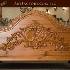 Custom Hand Carved Canopy Bed: Fine Art Designs By H. Nick - the finest quality furniture available anywhere at any price Wooden Front Door Design, Wood Bed Design, Wooden Sofa Designs, Bedroom Bed Design, Wood Carving Designs, Wood Carving Art, Bed Designs With Storage, Double Bed Designs, Hand Carved