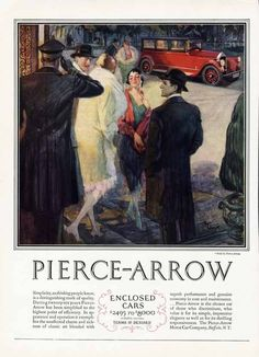PIERCE ARROW Auto Ad - 1927 - Enclosed Car - Out for the Evening