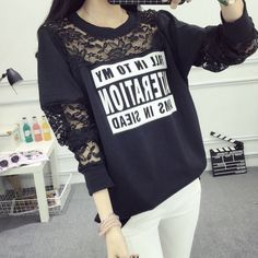 2016 Plus Size Women Sweatshirt White and Black Color with Lace Sleeve and Letter decorate Spring Autumn Winter Women Clothing
