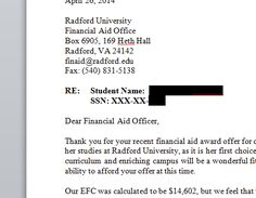 how to create a financial aid appeal letter