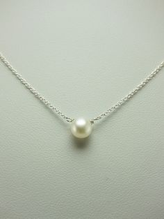 Simple Small Freshwater Pearl Silver Necklace. $28.00, via Etsy.