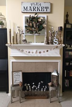 Rustic Farmhouse Mantle & Fireplace w/ Metallic Theme, Window, Cotton, Wreath, & More