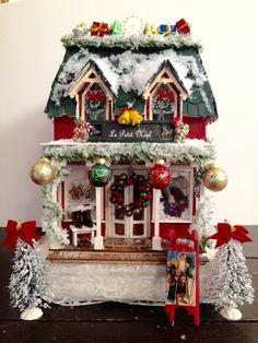 Le Petit Noel Christmas Shoppe made from the Greenleaf Brimbles Mercantile kit. miniature Christmas shop