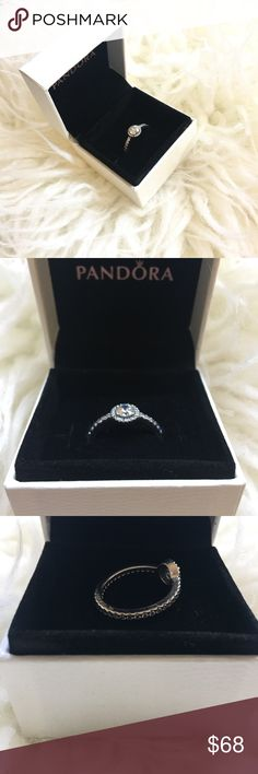 Pandora Ring Classic elegance, clear CZ. This heritage-inspired solitaire design features a large vintage-cut cubic zirconia framed by multiple sparkling stones. Size 7.5, sterling silver, brand new-never worn. This can be worn as a promise ring or for a everyday statement piece ring. Pandora Jewelry Rings